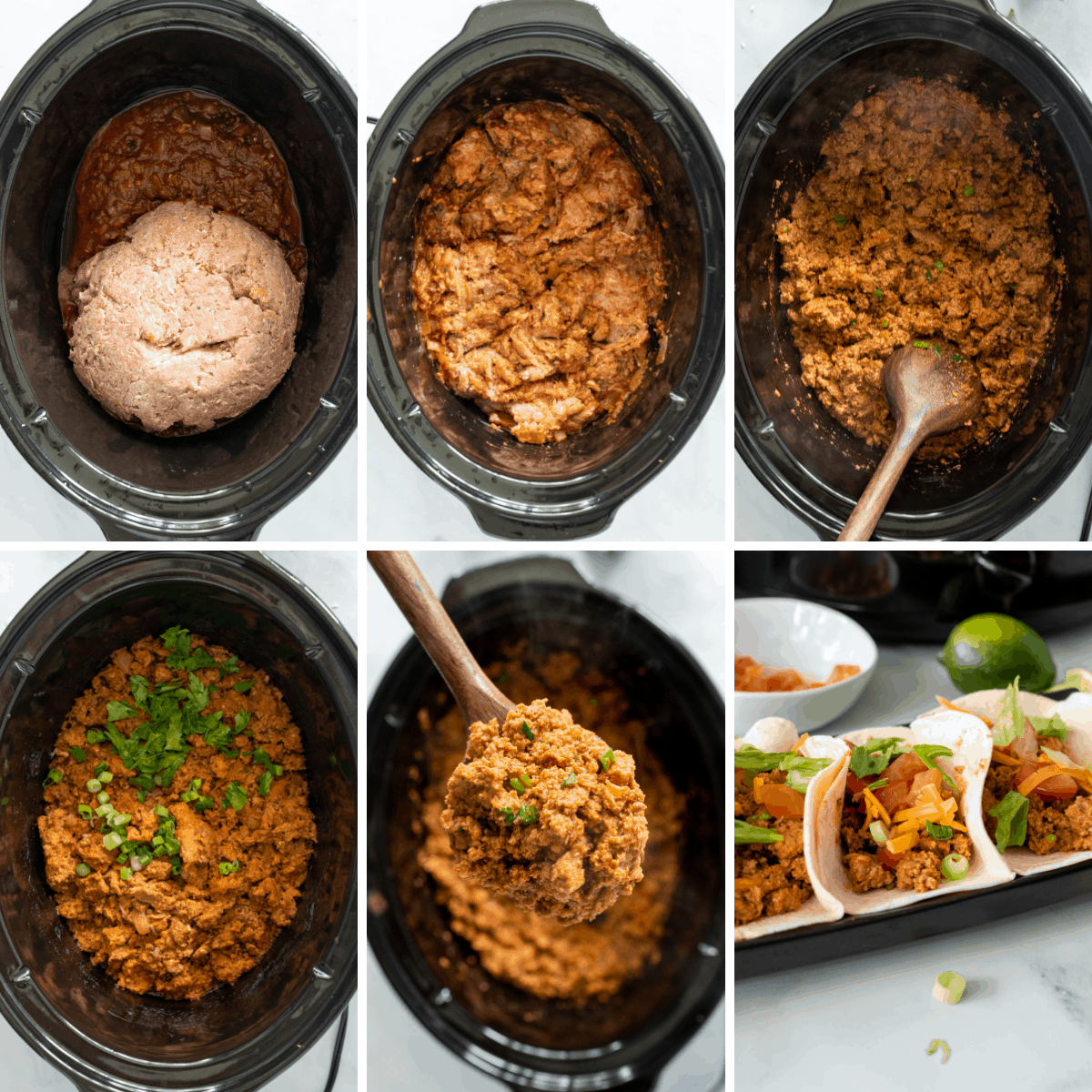 another collage showing the last steps for making crockpot turkey tacos.