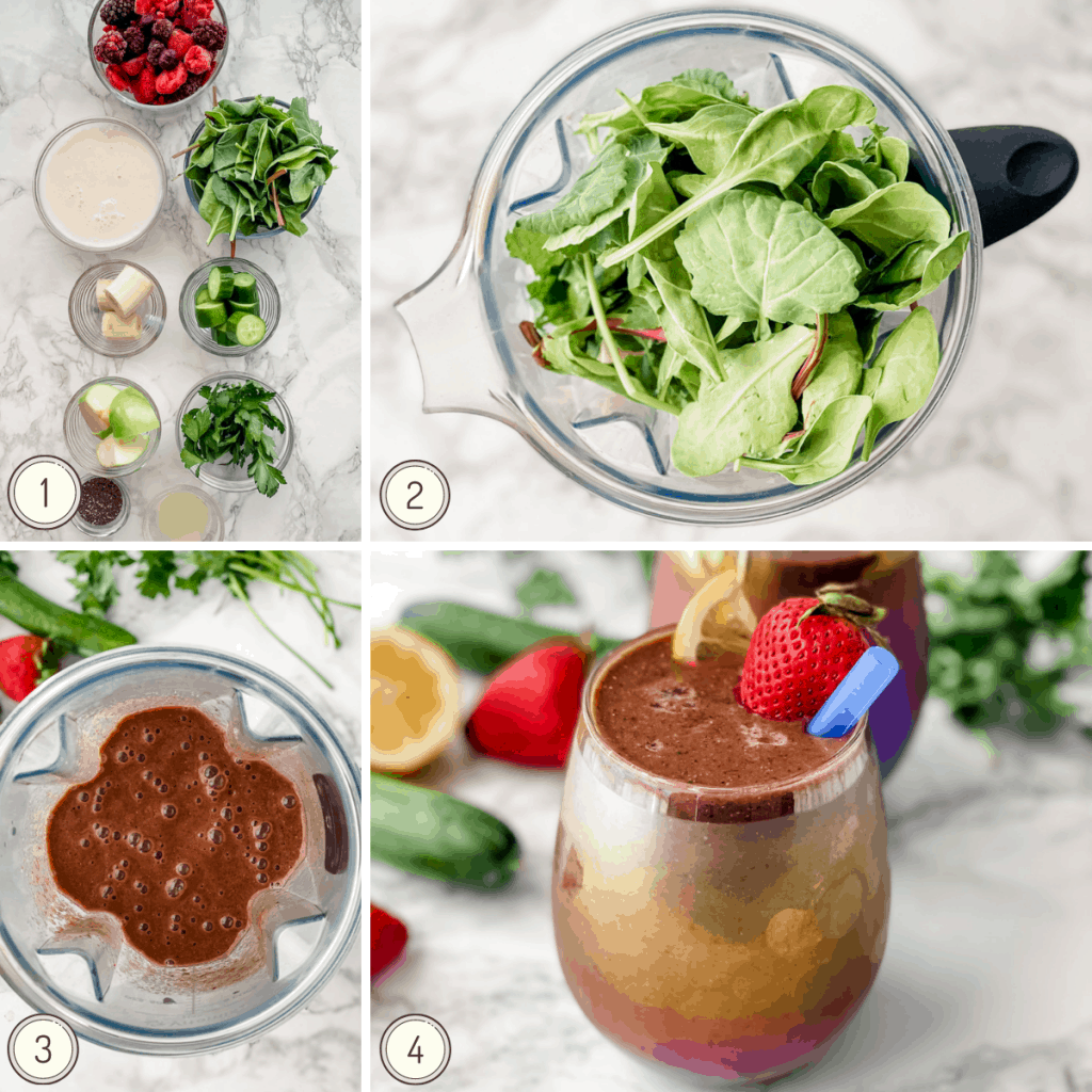 step by step collage for making a detox smoothie.