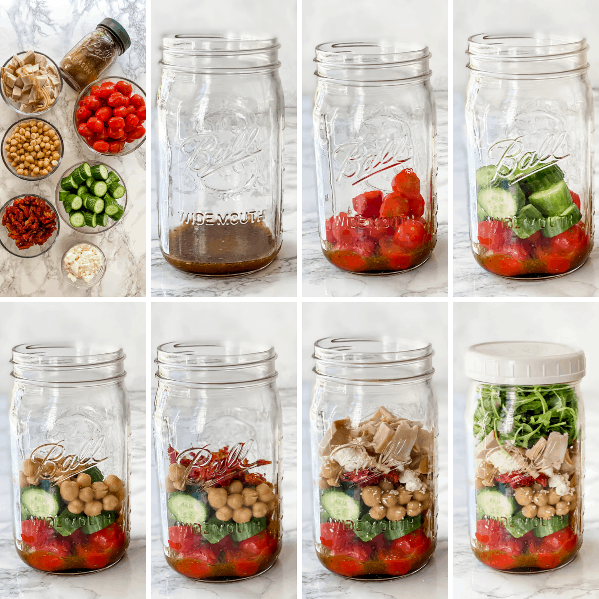 step by step collage for making a mason jar California salad.
