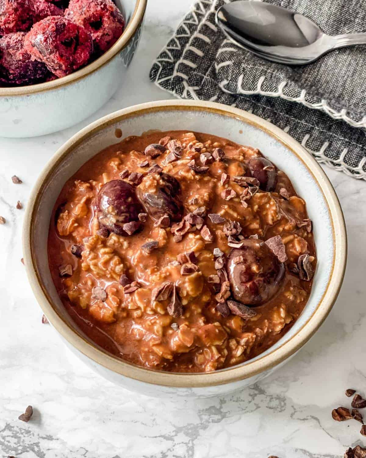a bowl of Black Forest overnight oats.