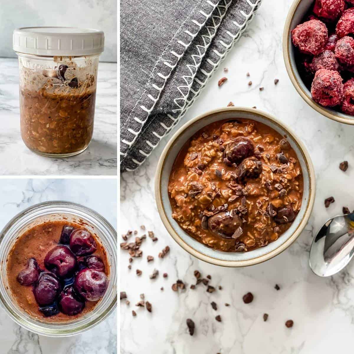 step by step collage showing how to make Black Forest overnight oats