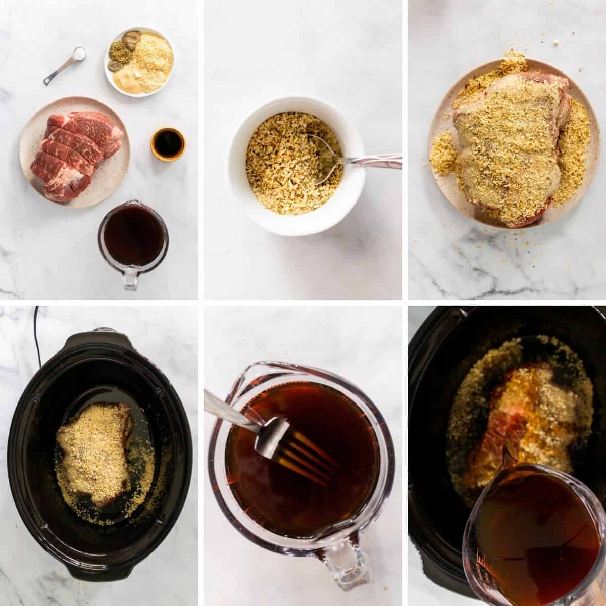 step by step collage showing how to make slow cooker pot roast with onion soup mix.