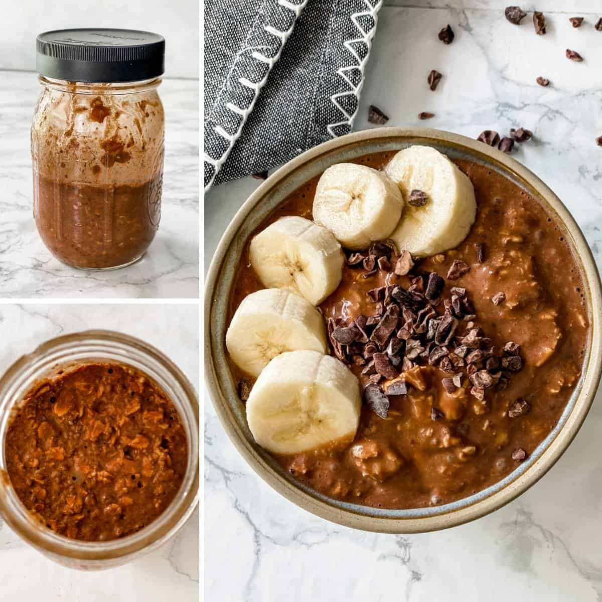 step by step collage showing how to make chocolate banana overnight oats