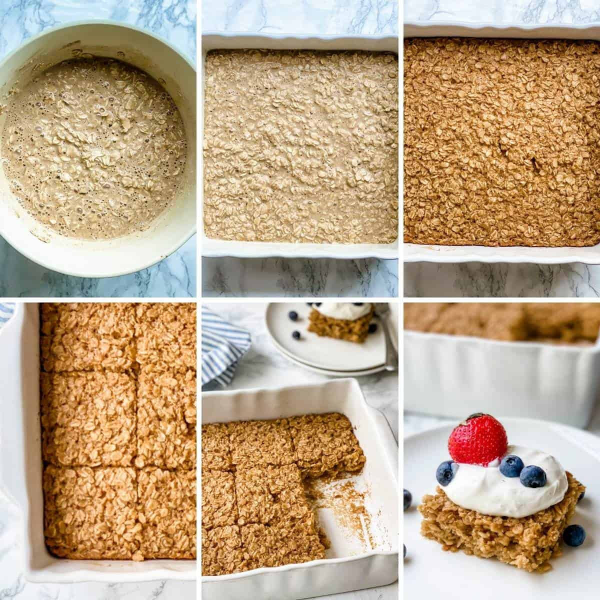 collage showing how to make an oatmeal bake.