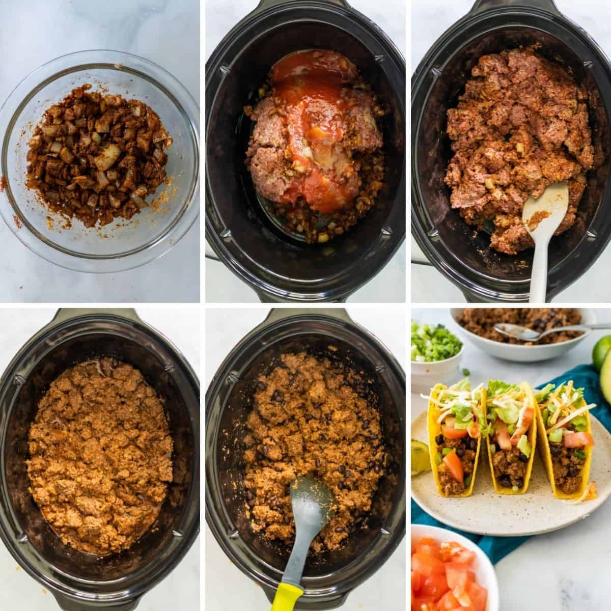 step by step collage showing you how to finish the crockpot taco meat