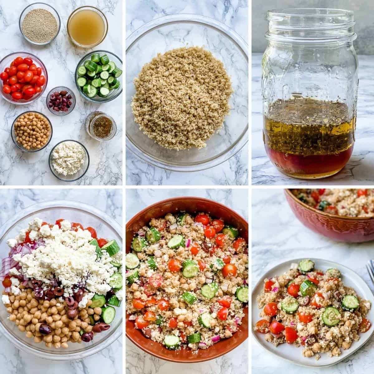 step by step collage showing how to make greek quinoa salad