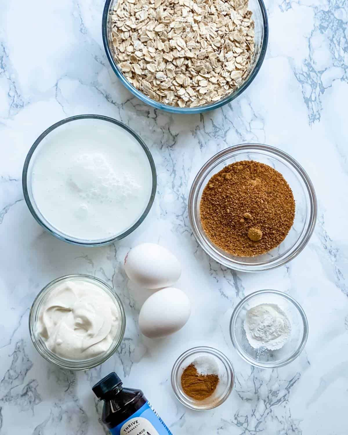 ingredients to make baked oatmeal.