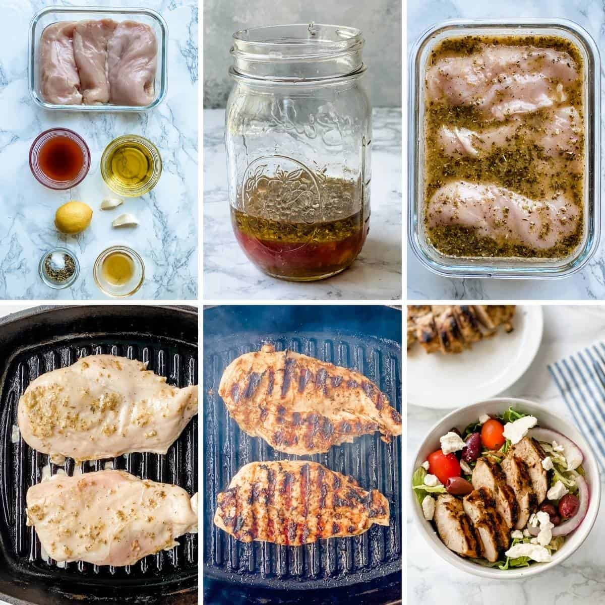 step by step collage showing how to make greek chicken marinade and to grilling the chicken