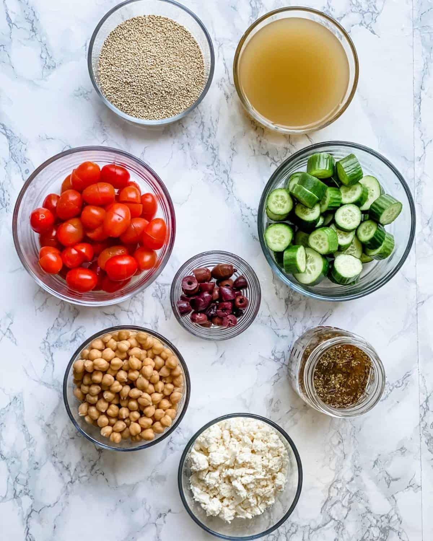 Ingredients to make a Greek Quinoa Salad