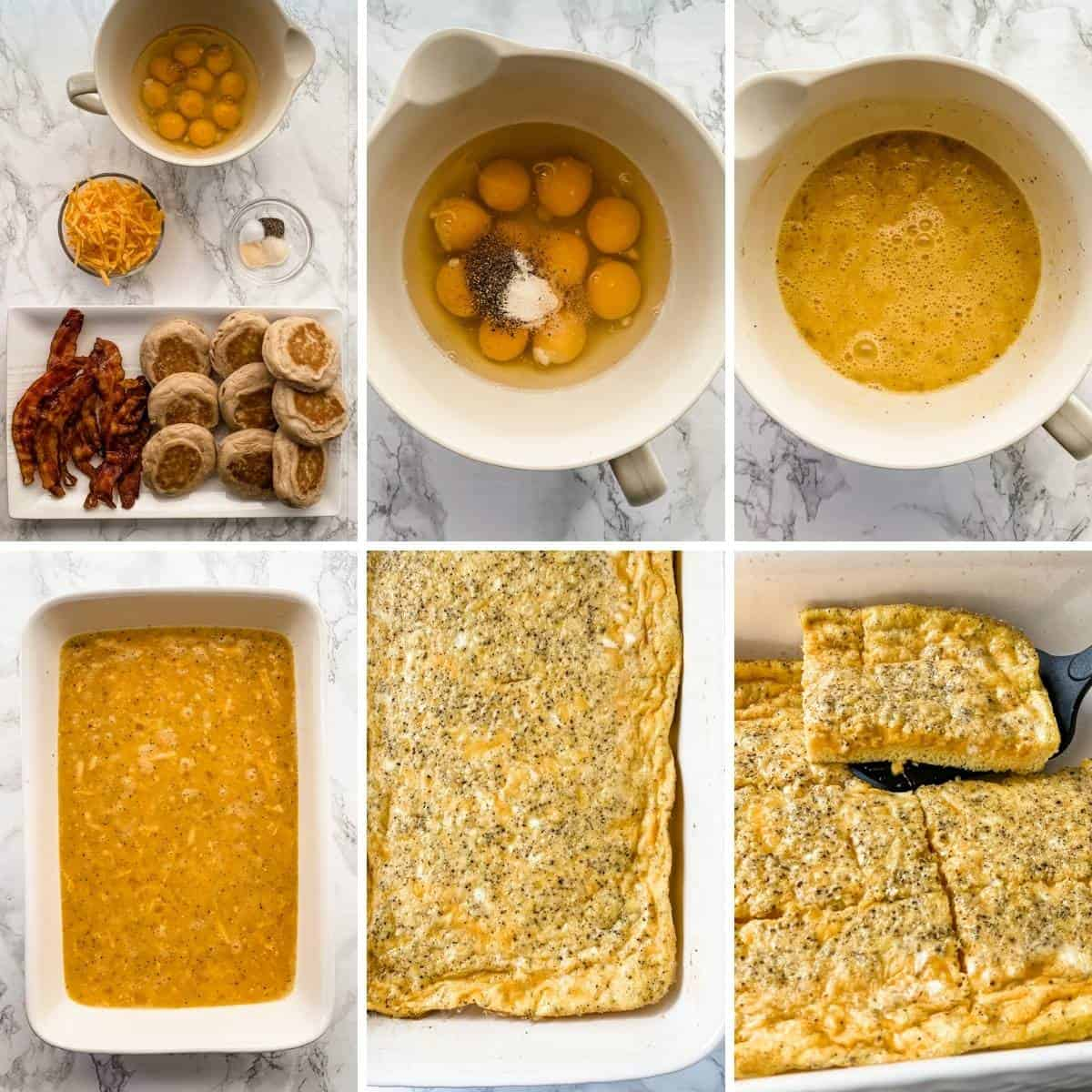 Collage showing the steps for making frozen breakfast sandwiches