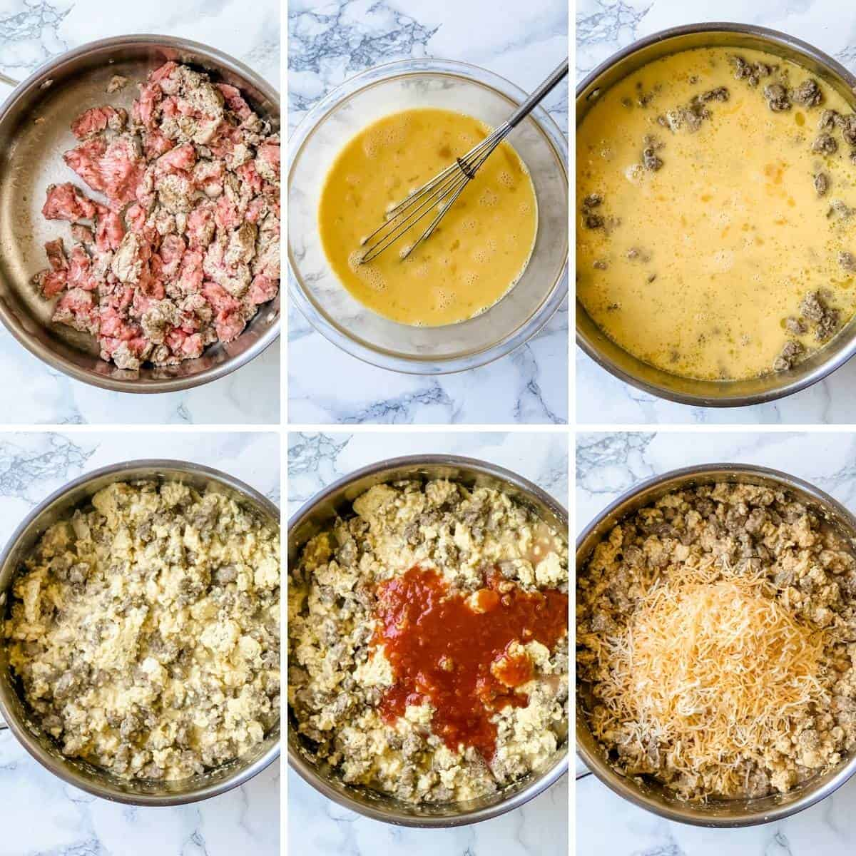 step by step collage showing how to make freezer breakfast burritos