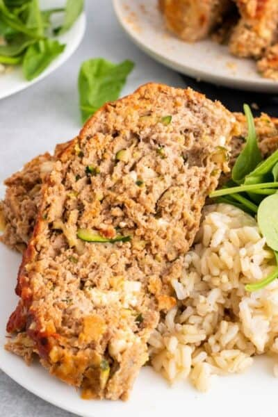 Turkey Zucchini Meatloaf with Feta