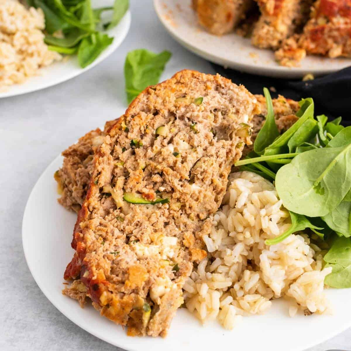 Delicious turkey zucchini meatloaf with feta