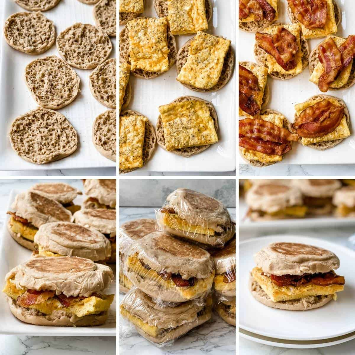A collage showing the last steps for assembling the breakfast sandwiches for the freezer.
