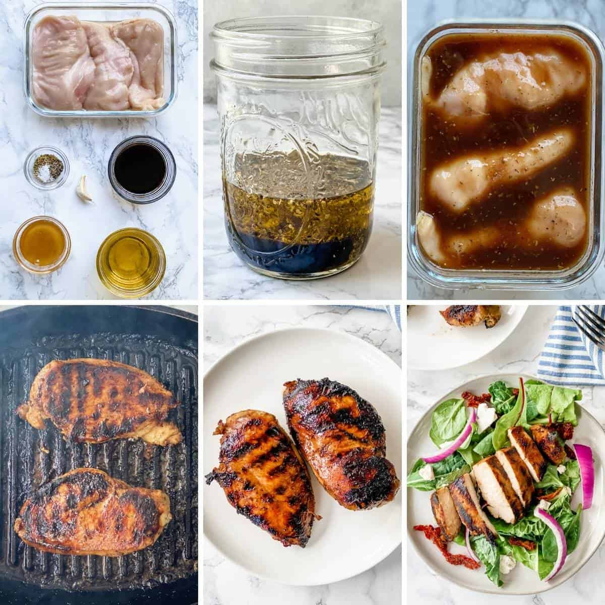 step by step collage showing how to put together balsamic chicken marinade and grill the chicken.