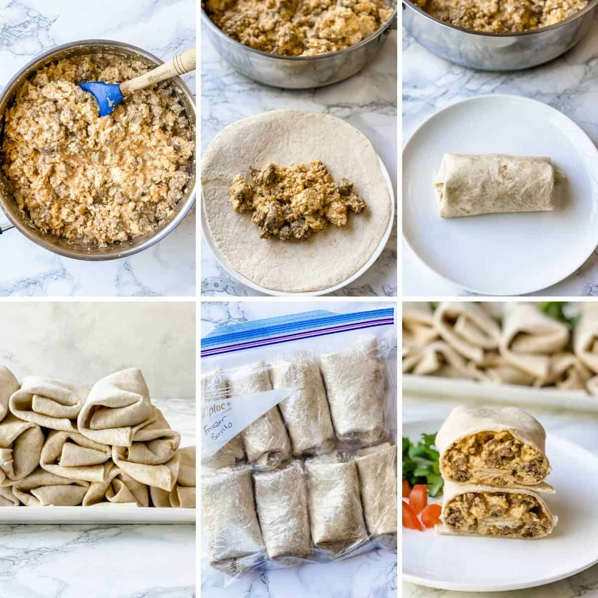 step by step photos on how to fill and roll and freeze a breakfast burrito.