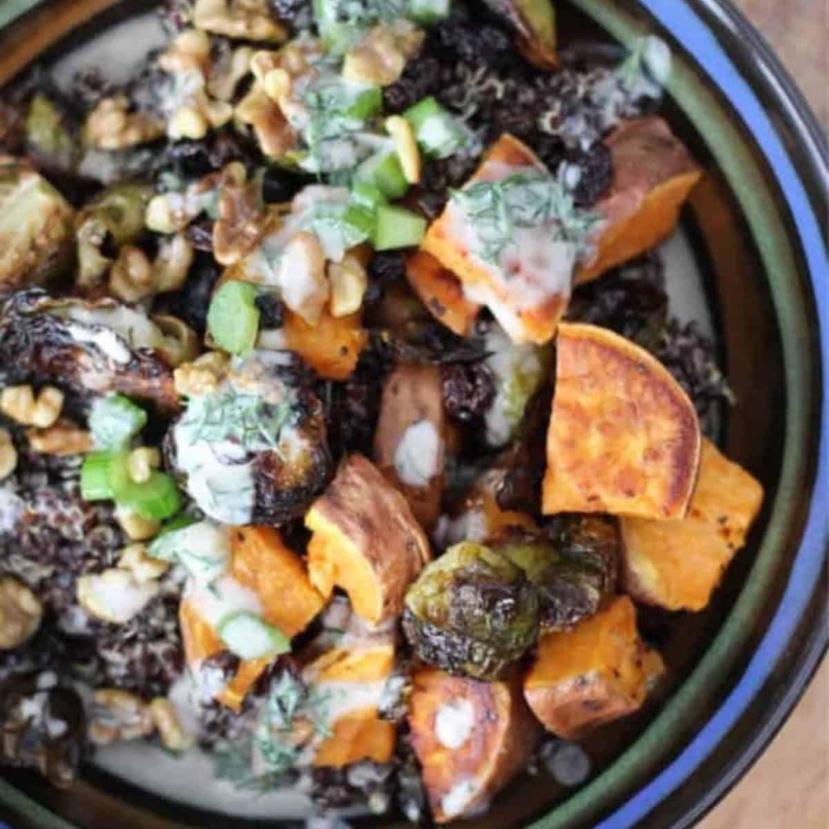 purple carrot vegetable grain bowl