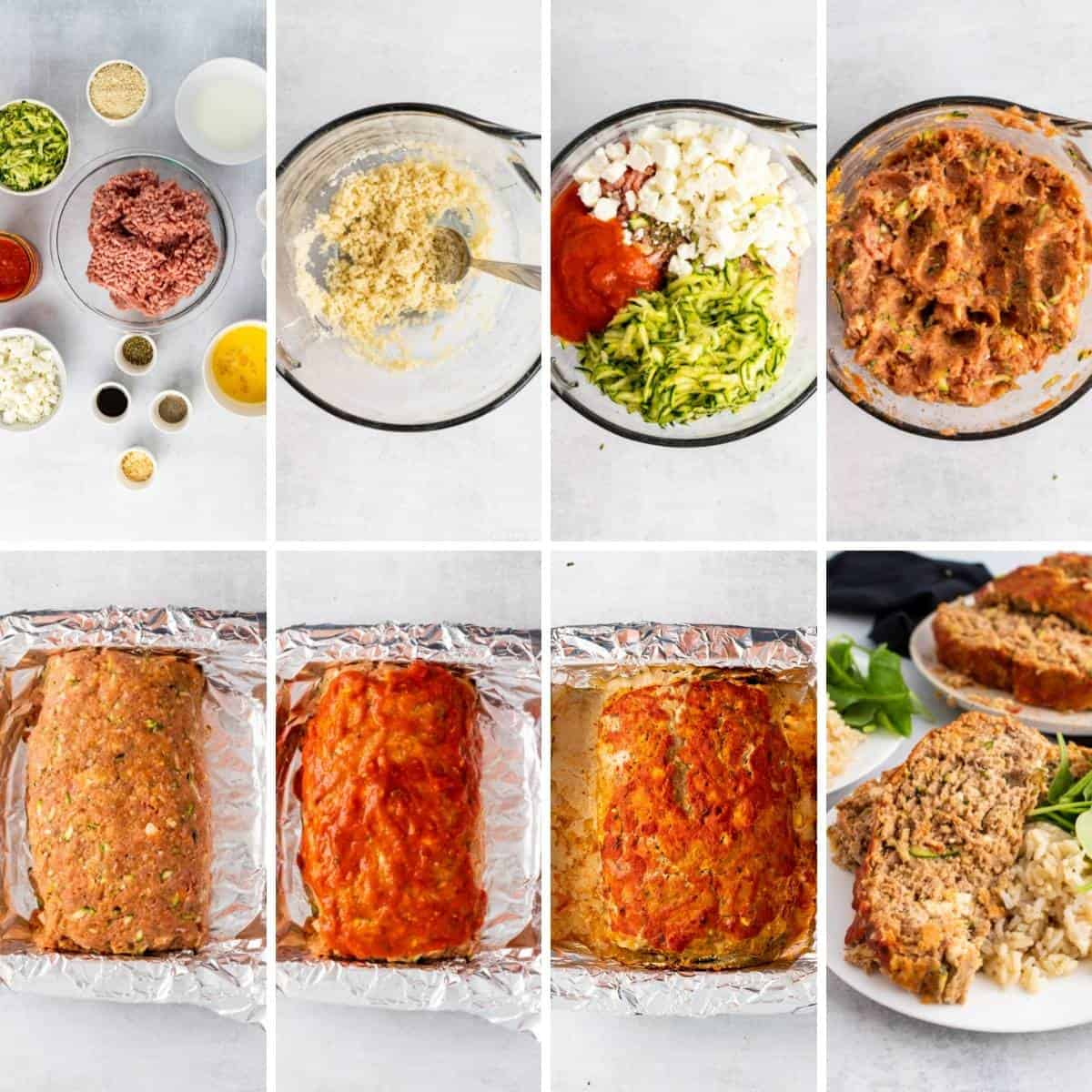 step by step collage showing how to make zucchini meatloaf.
