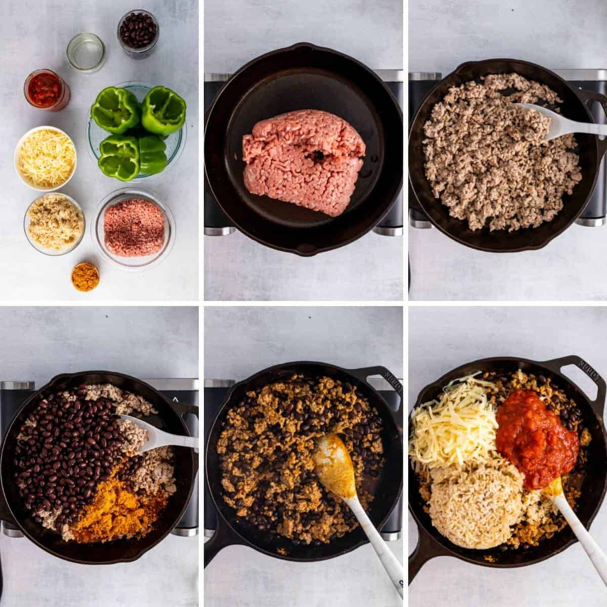 step by step collage showing how to make taco stuffed peppers.