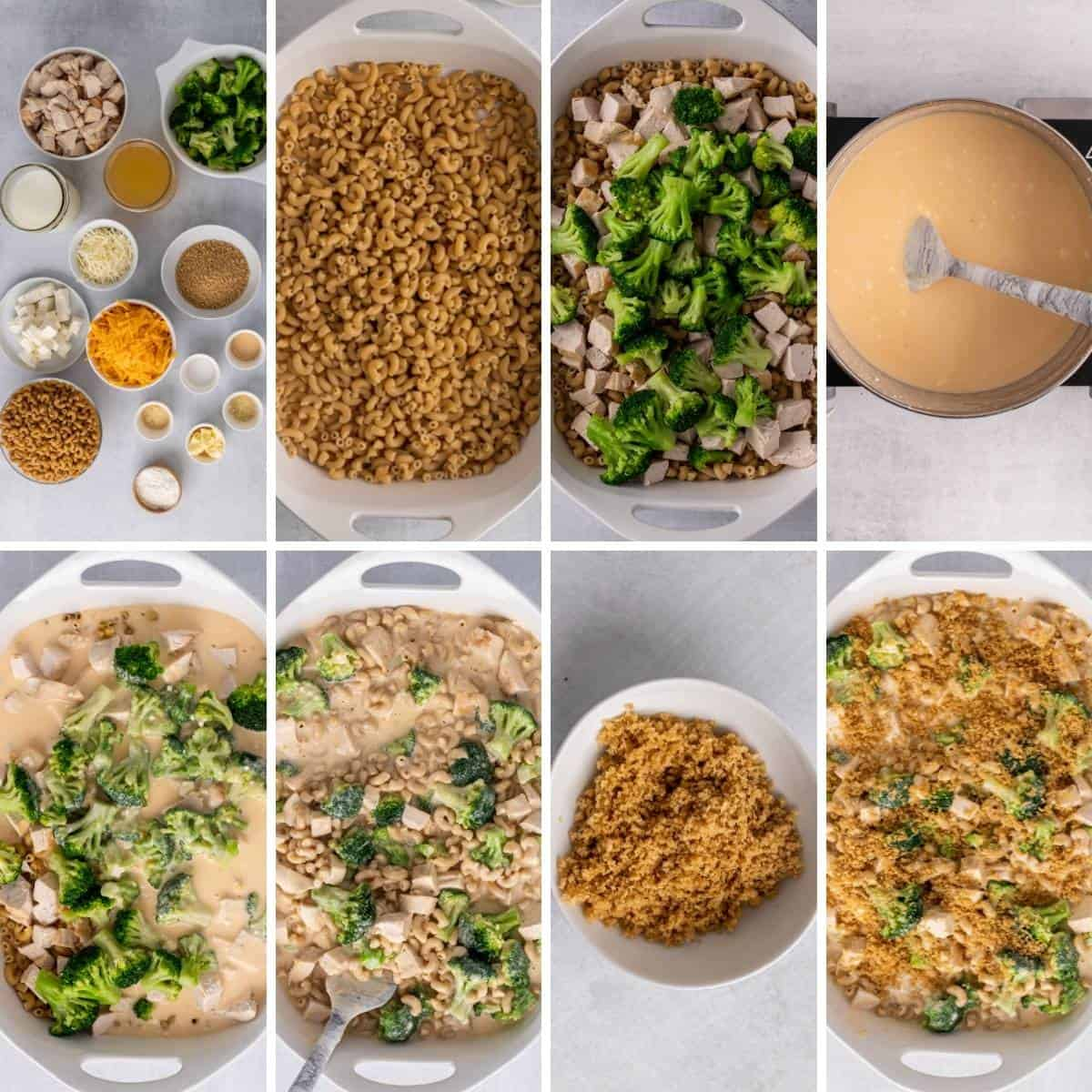 step by step collage showing how to assemble and bake a chicken broccoli casserole made with pasta