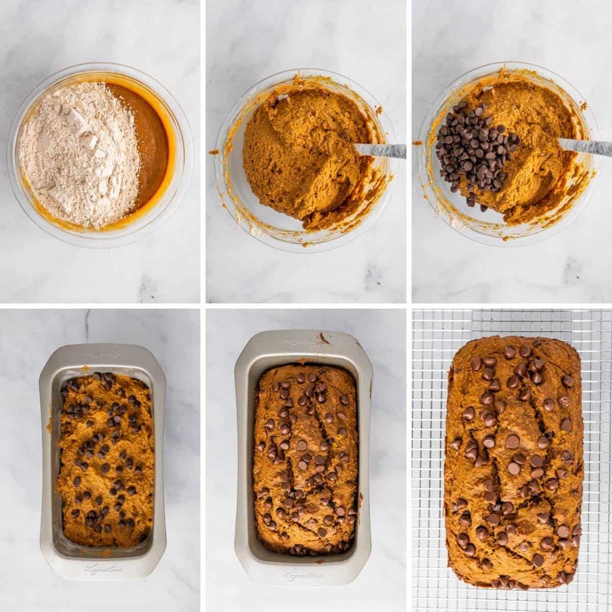 step by step collage showing the final steps for making this easy healthy pumpkin bread recipe