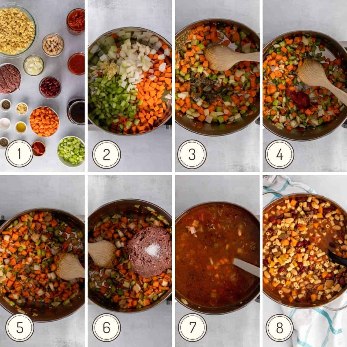 step by step collage showing how to make Pasta Fagioli