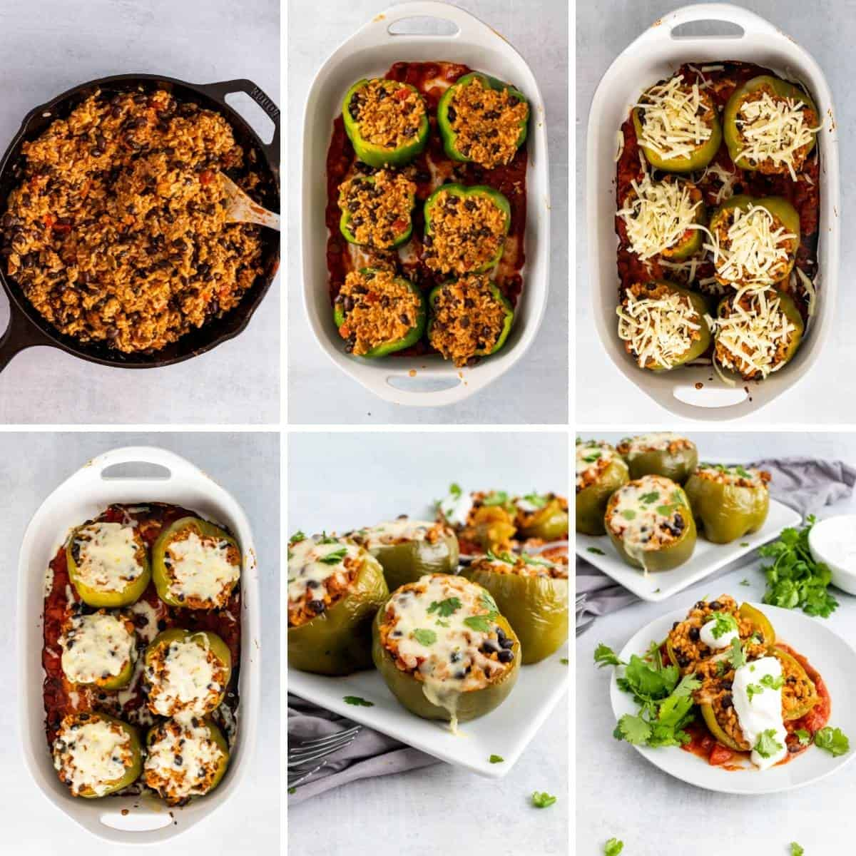 Another collage showing the last steps to making taco stuffed peppers