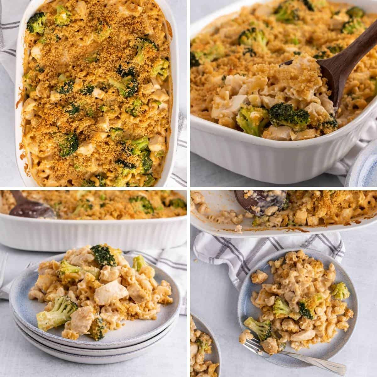 step by step collage showing the cooked results of the chicken broccoli pasta bake.