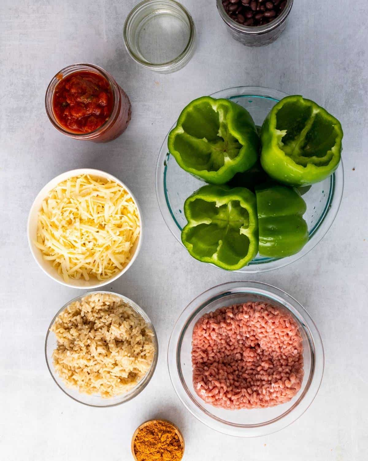 ingredients to make taco stuffed peppers
