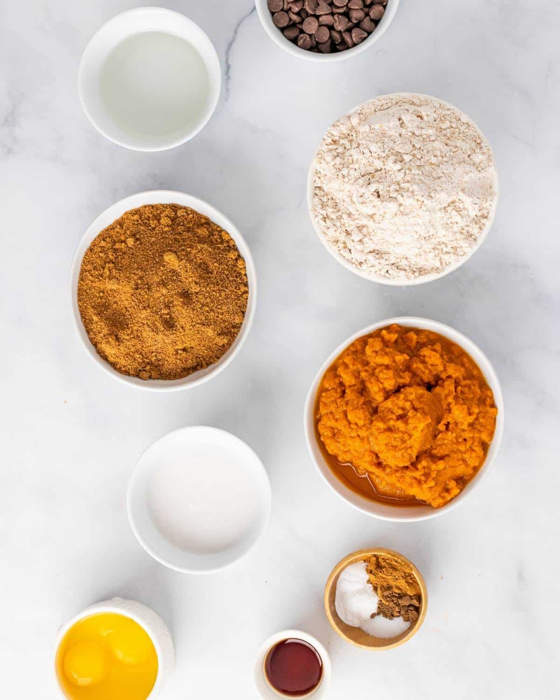 ingredients to make healthy pumpkin bread