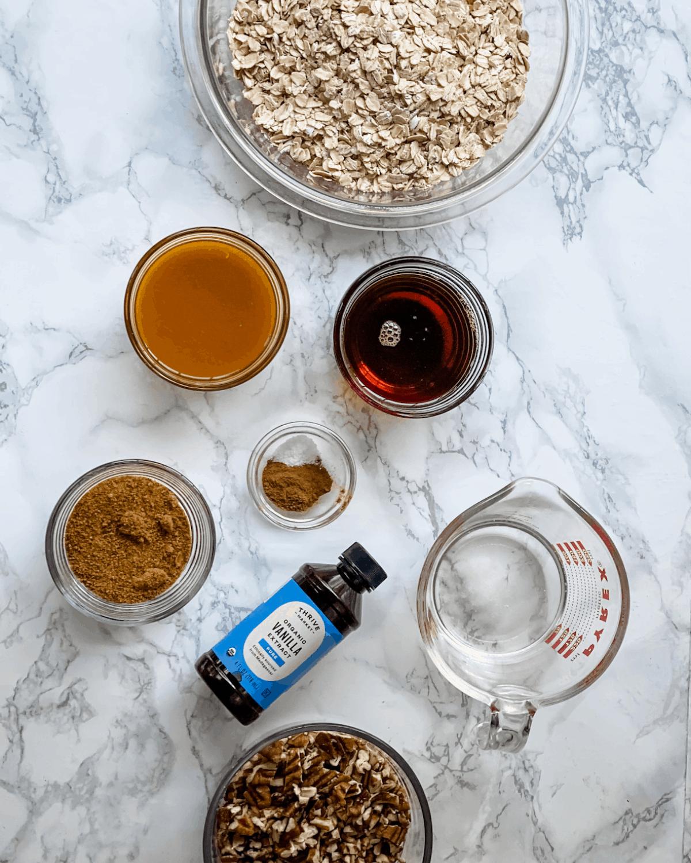 ingredients to make homemade pumpkin spice granola