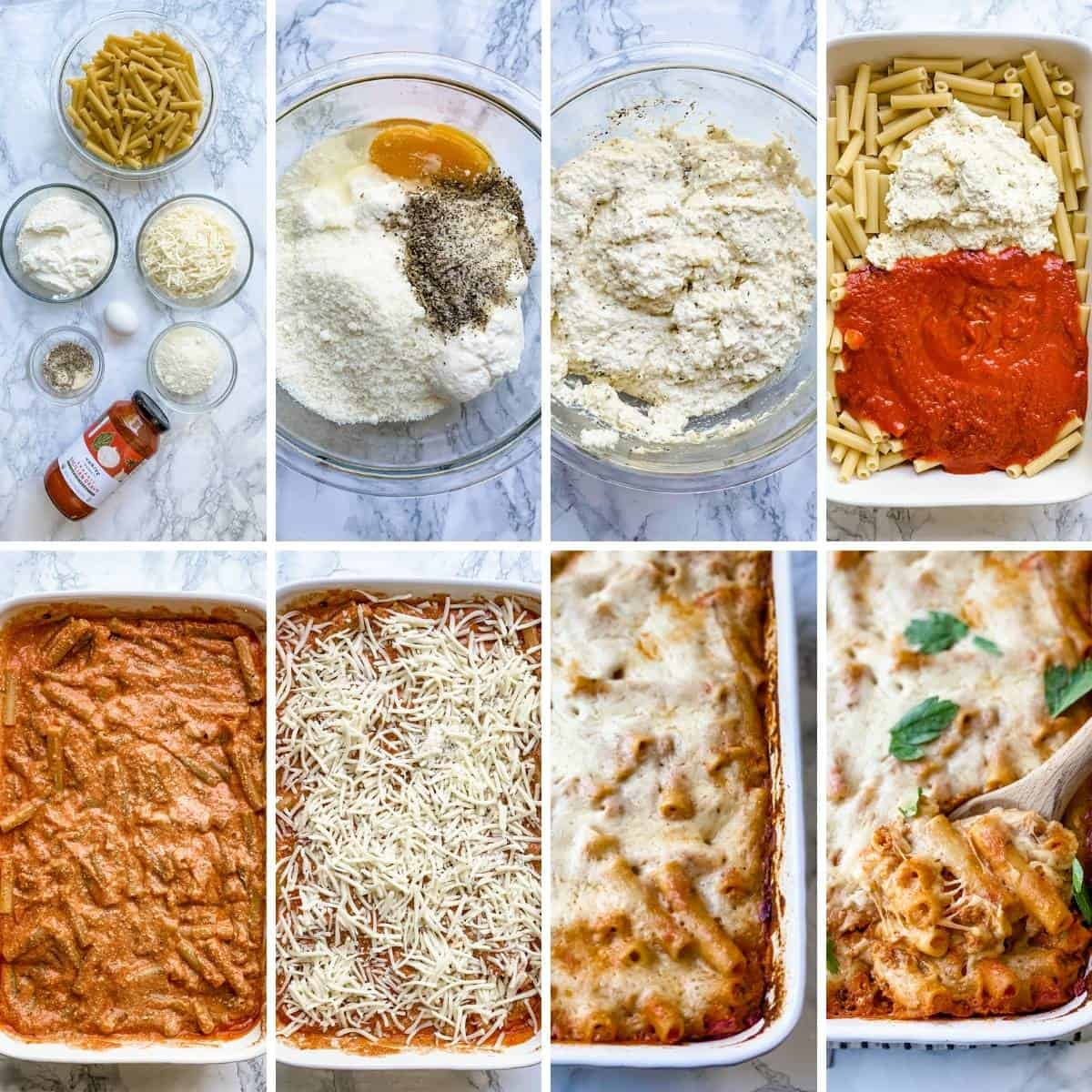 step by step collage showing how to put together an easy healthy baked ziti recipe.
