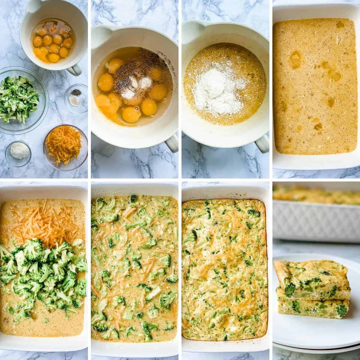 Step by step collage showing how to make a breakfast Broccoli Egg bake with cheese