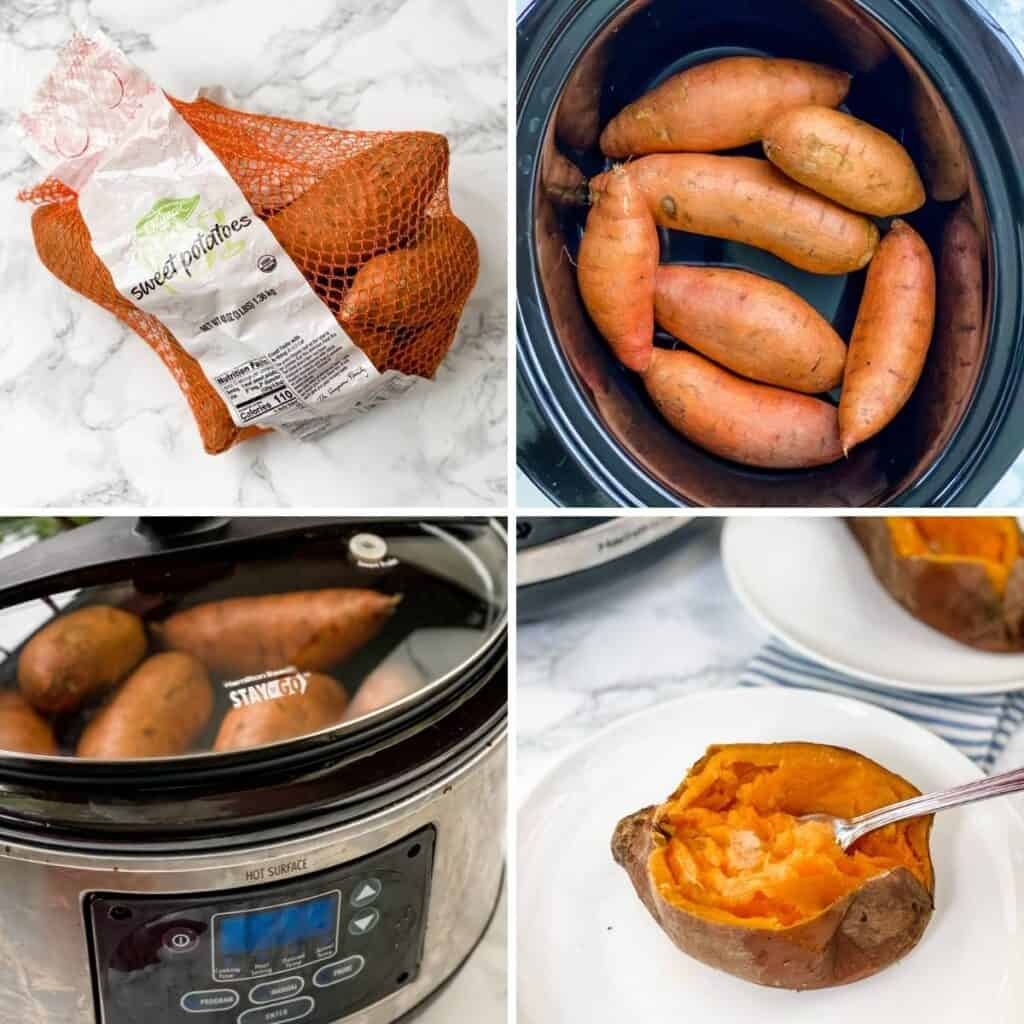 step by step collage showing how to make slow cooker sweet potatoes