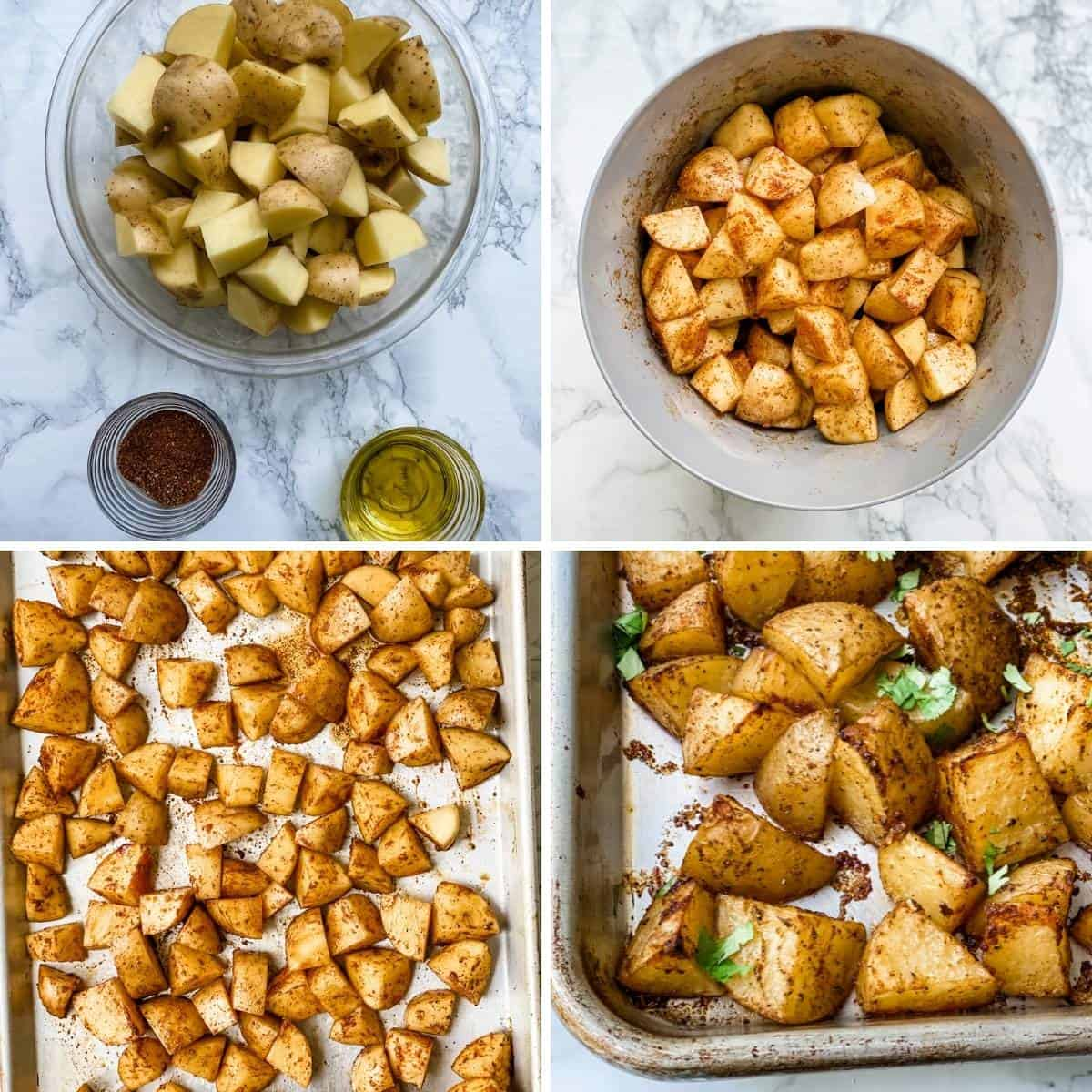 step by step collage showing how to make mexican potatoes