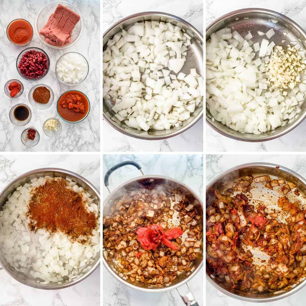 step by step collage for making a slow cooker turkey chili