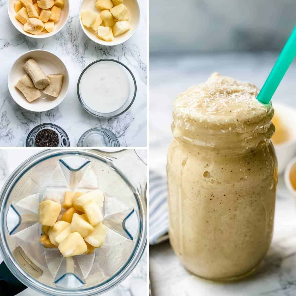 step by step collage showing how to make tropical smoothie recipe