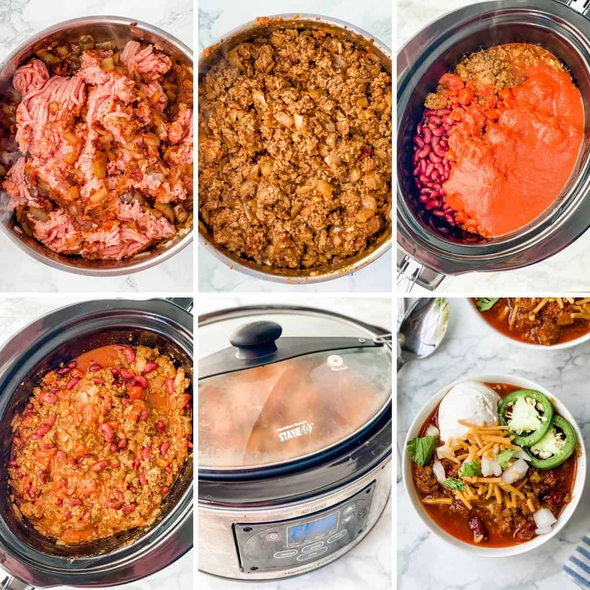 another collage showing how to make ground turkey chili in the crockpot.