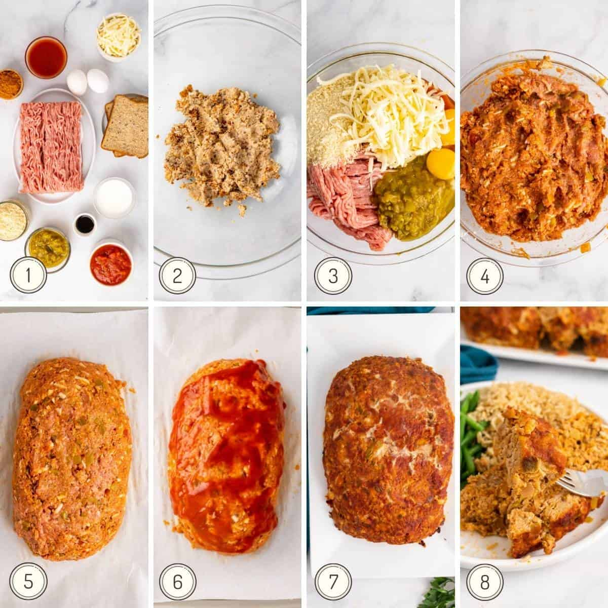 step by step collage showing how to make mexican meatloaf