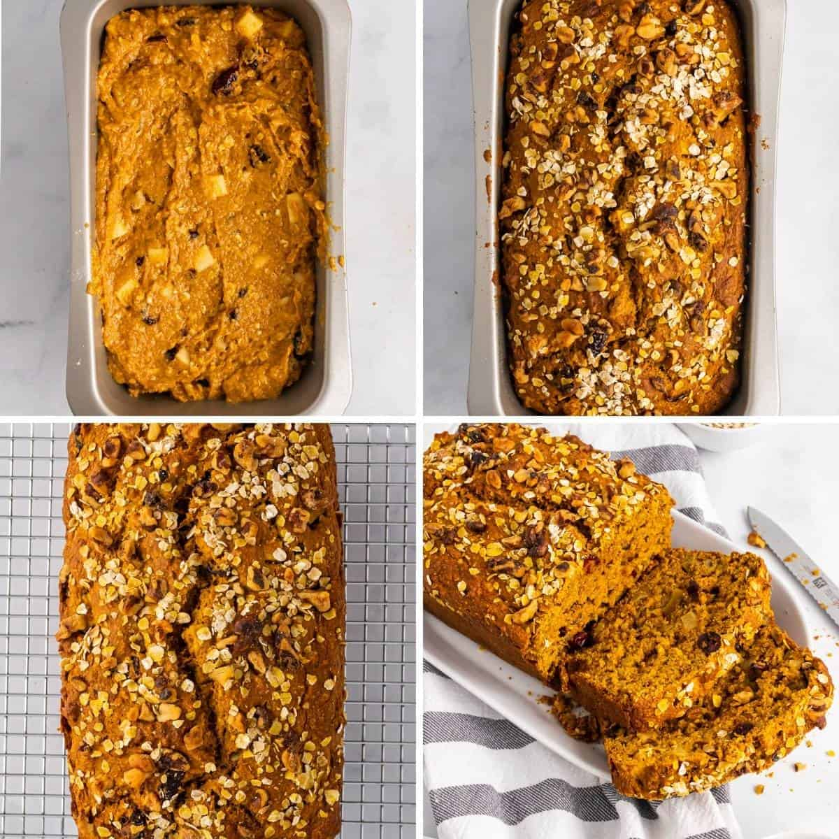 final four step collage showing how to make this apple pumpkin bread
