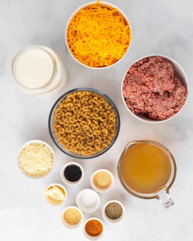 ingredients to make cheeseburger macaroni