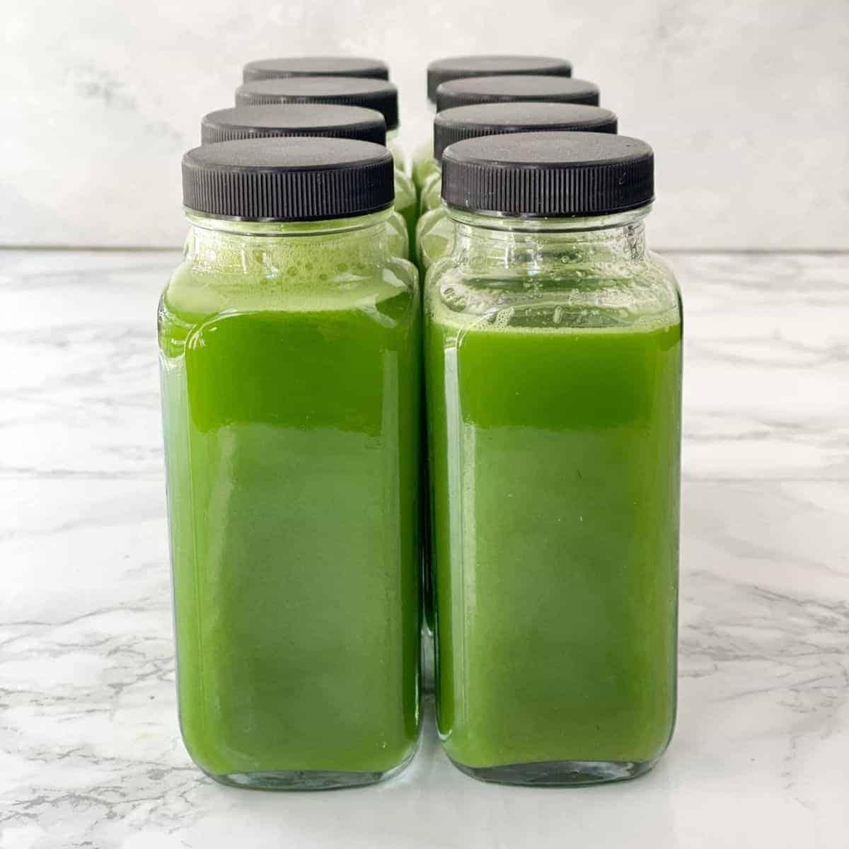 Vitamix green juice recipe. 8 glass bottle of homemade green juice.