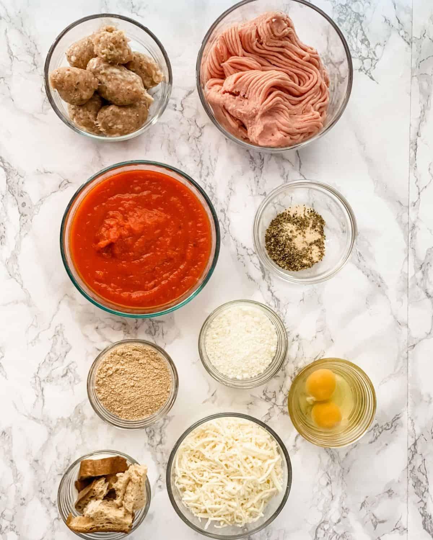 ingredients to make Italian meatloaf.