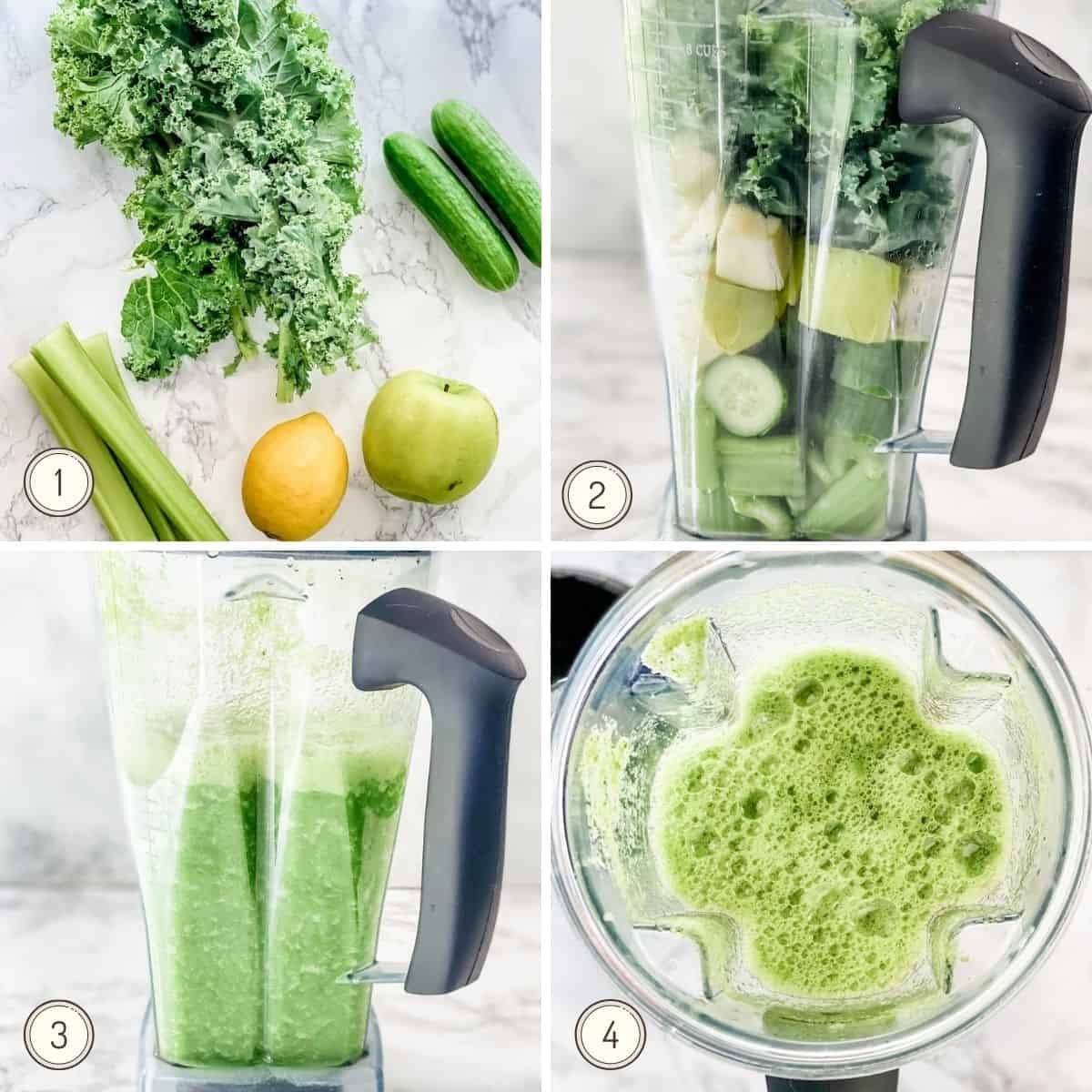 step by step collage showing how to make green juice in a blender