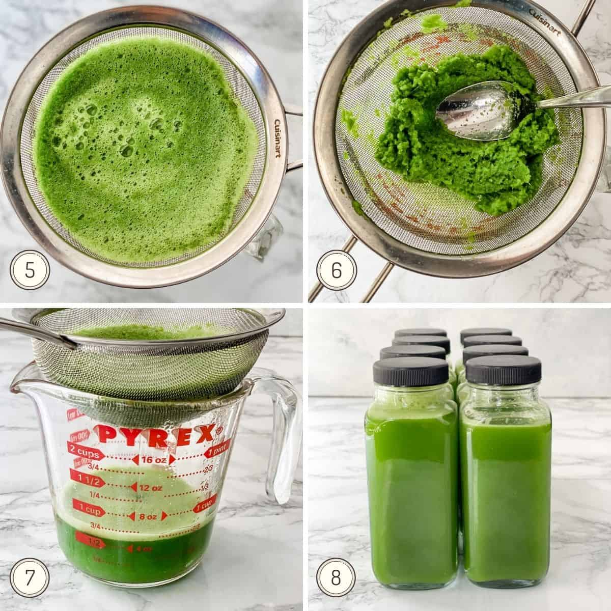 another collage showing how to make green juice for the week.