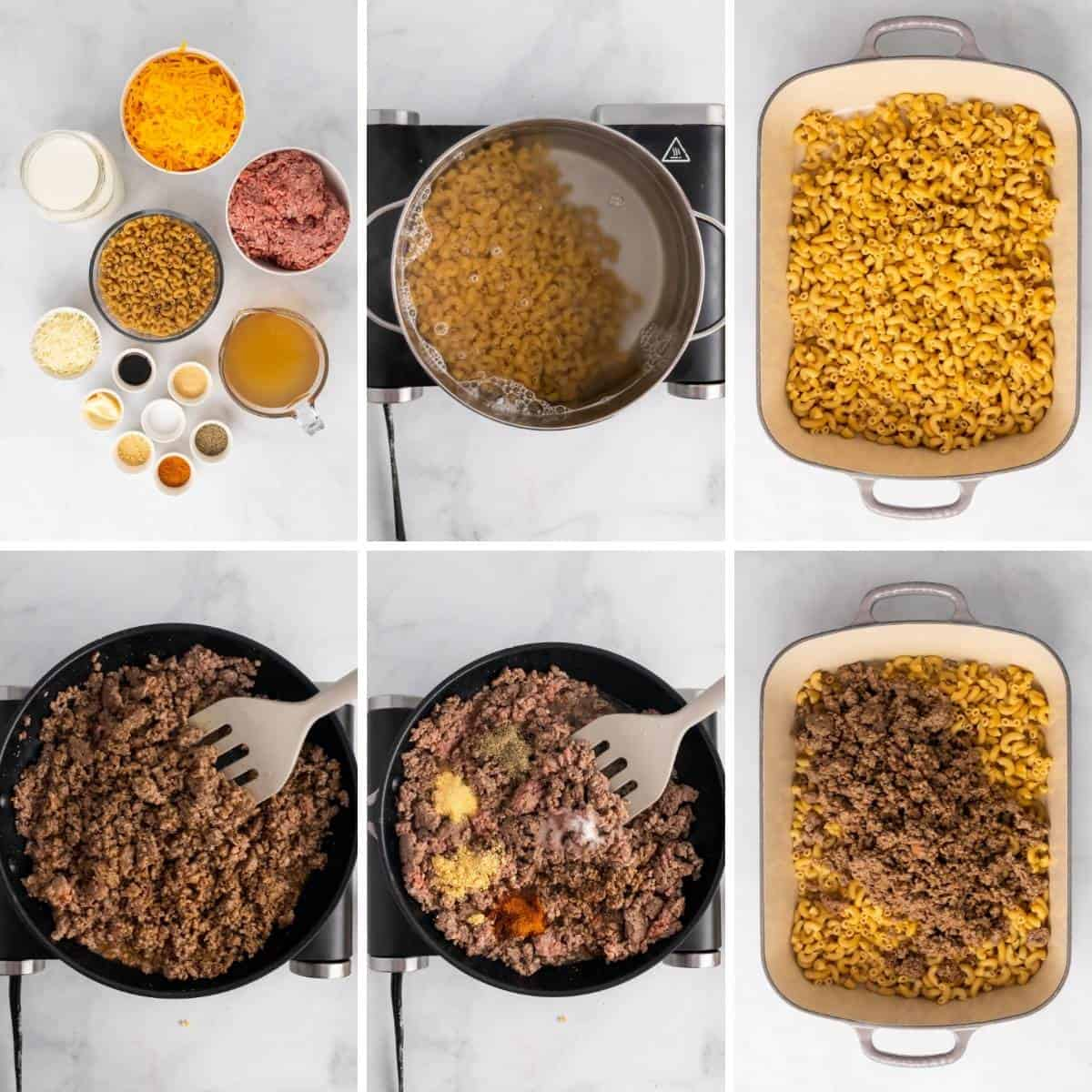 step by step collage showing how to make cheeseburger macaroni bake