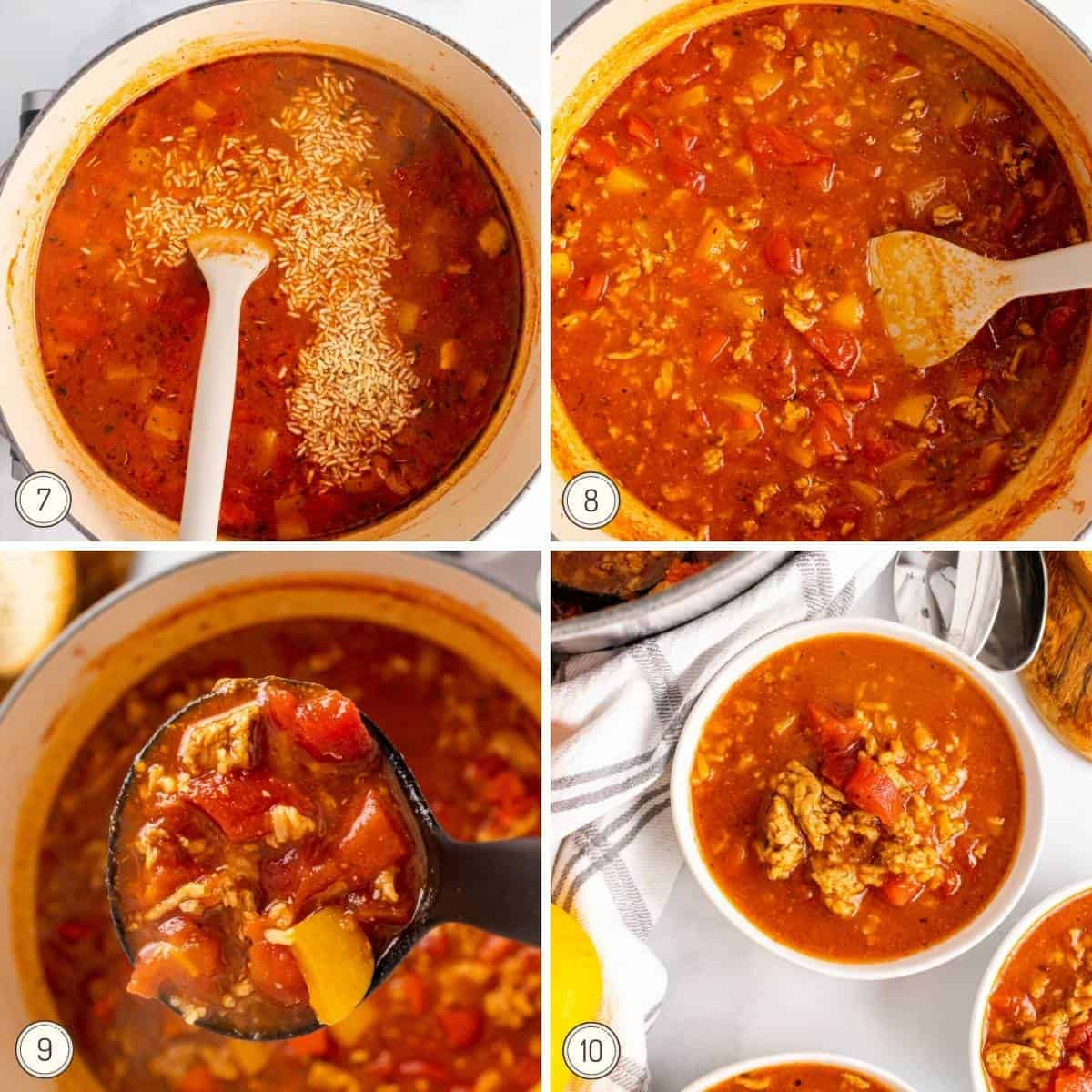the last steps in a collage showing how to make stuffed pepper soup
