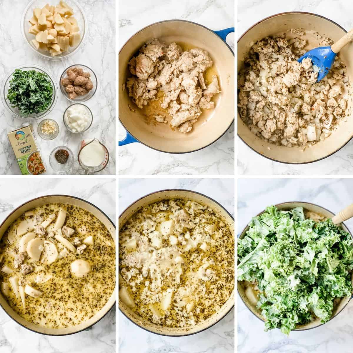 step by step collage showing how to make Zuppa Toscana.