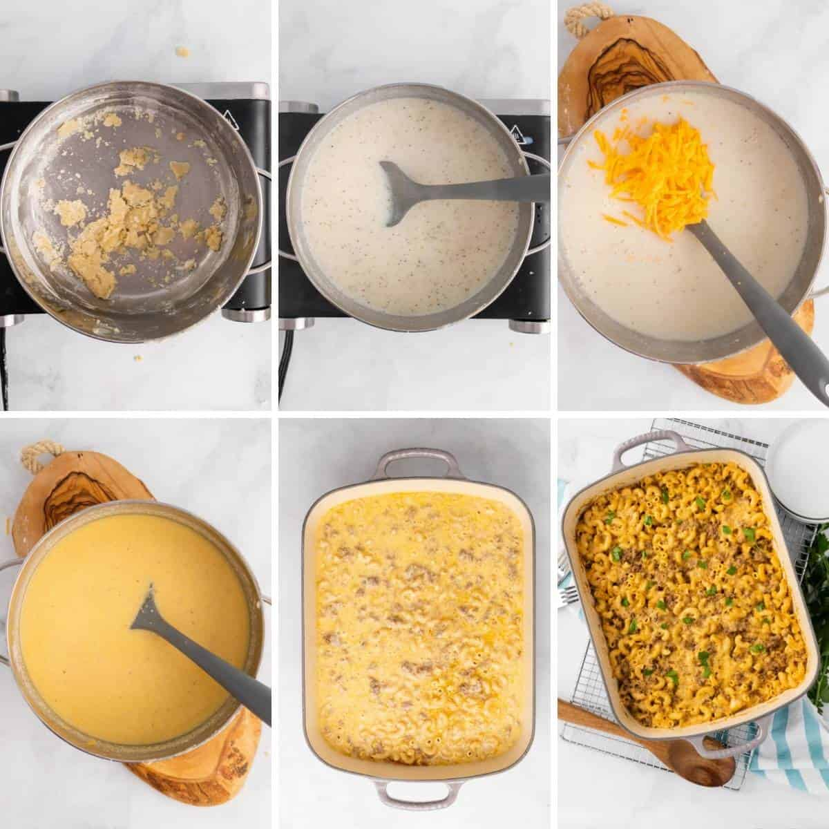 a second collage showing the last 6 steps to making this hamburger casserole bake.