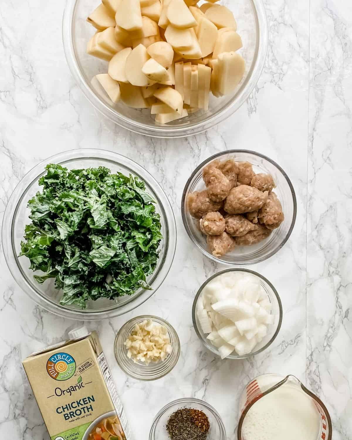 ingredients to make healthy Zuppa Toscana